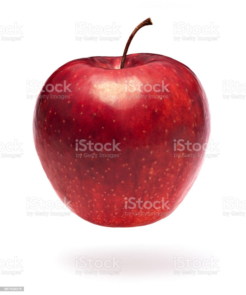 Red apple on white stock photo