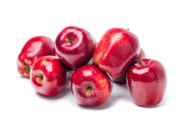 Red apple over white stock photo