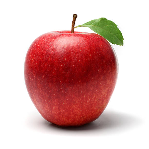 "Red Apple ""Fresh red apple with leaf, isolated on white background.Similar images -"" red delicious apple stock pictures, royalty-free photos & images"