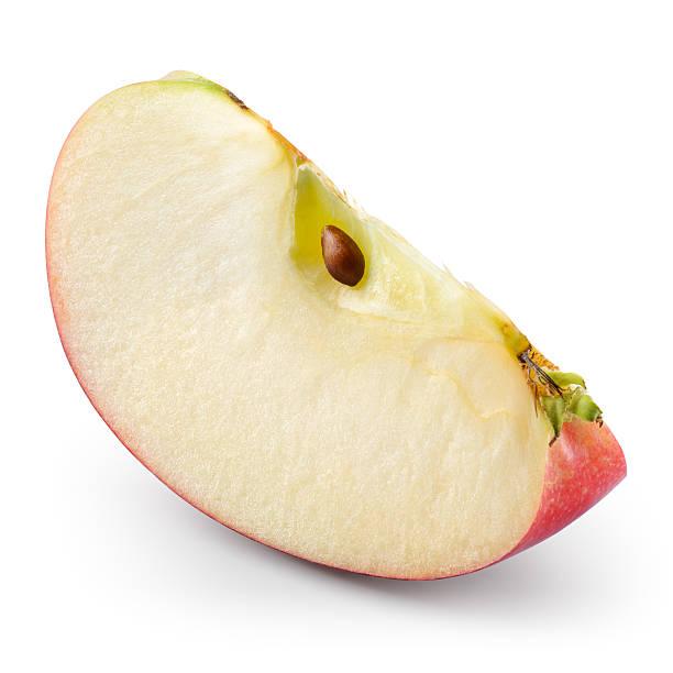 赤いリンゴます。ピース白に隔てられたます。クリッピングパスでます。 ストックフォト