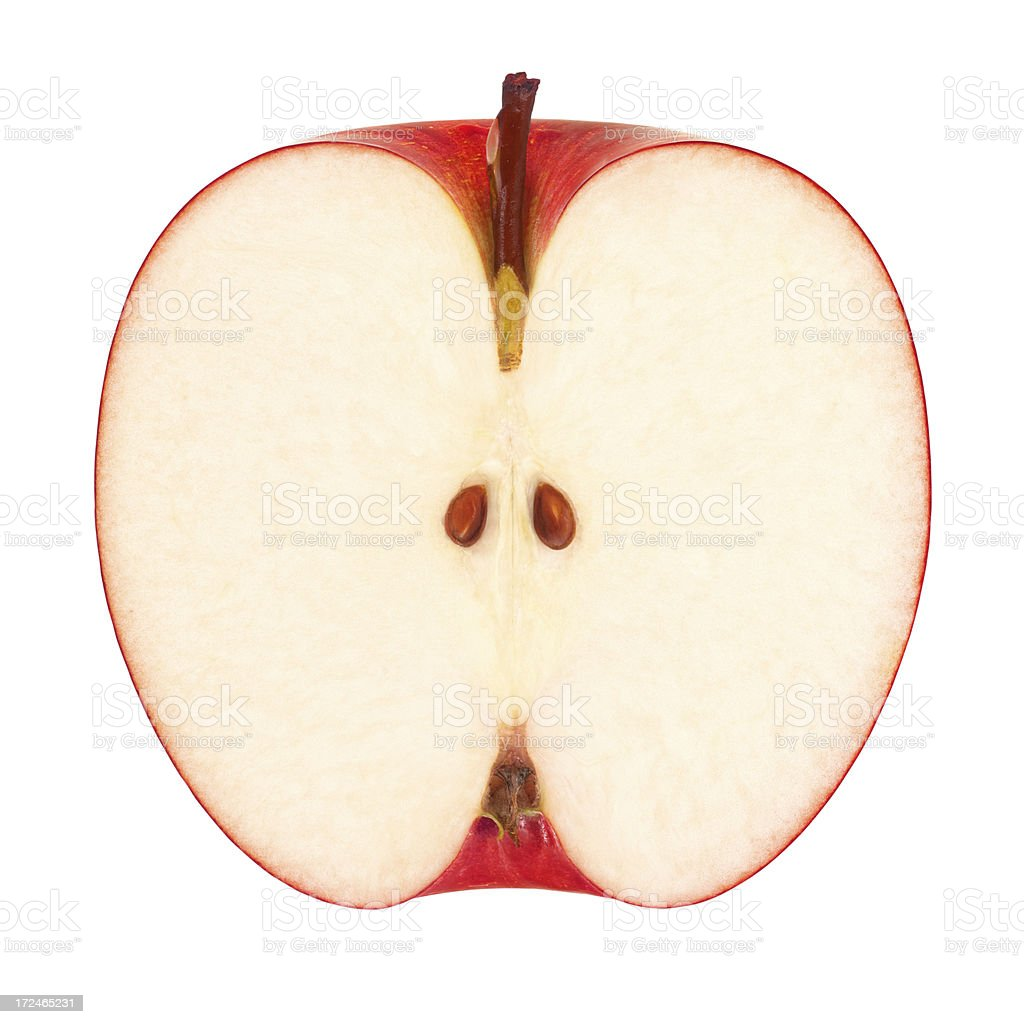 Red Apple Portion with Clipping Path royalty-free stock photo