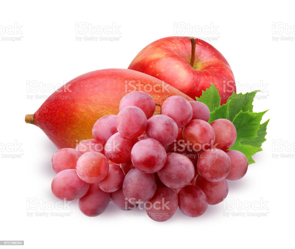 red Apple, ripe mango and grapes  isolated on white background stock photo