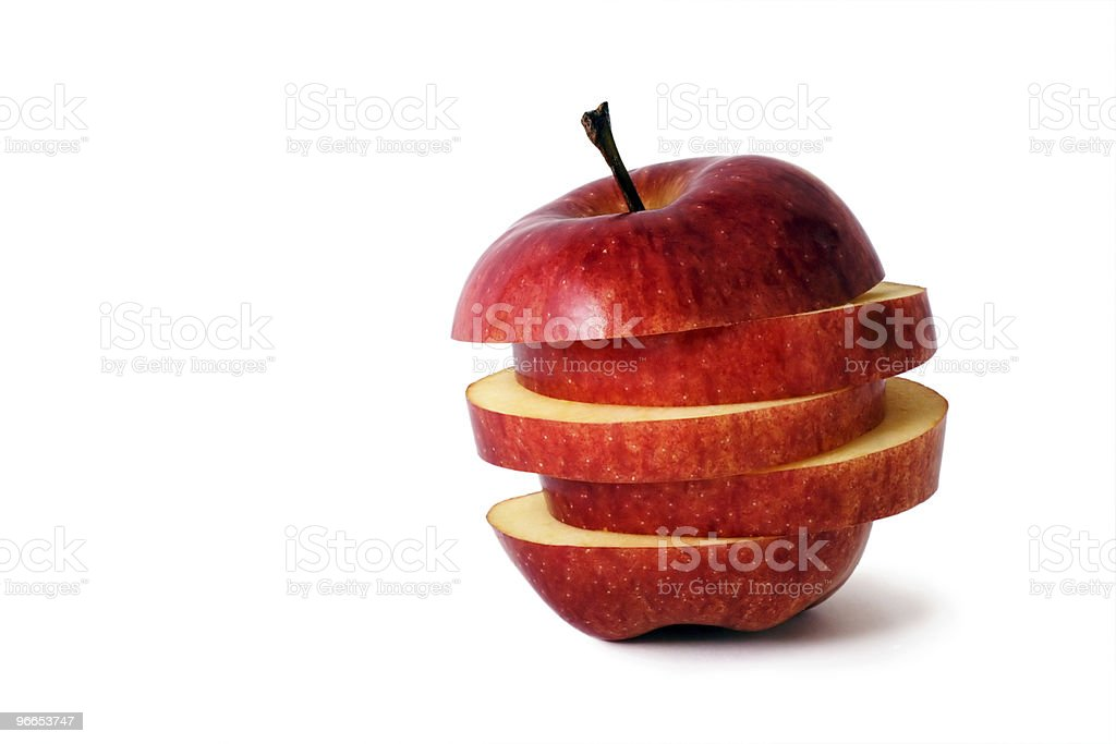 A red apple slices horizontally royalty-free stock photo