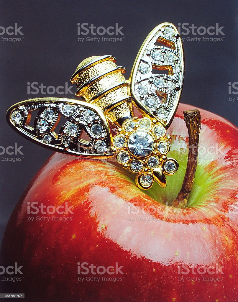 red apple with a golden brooch royalty-free stock photo