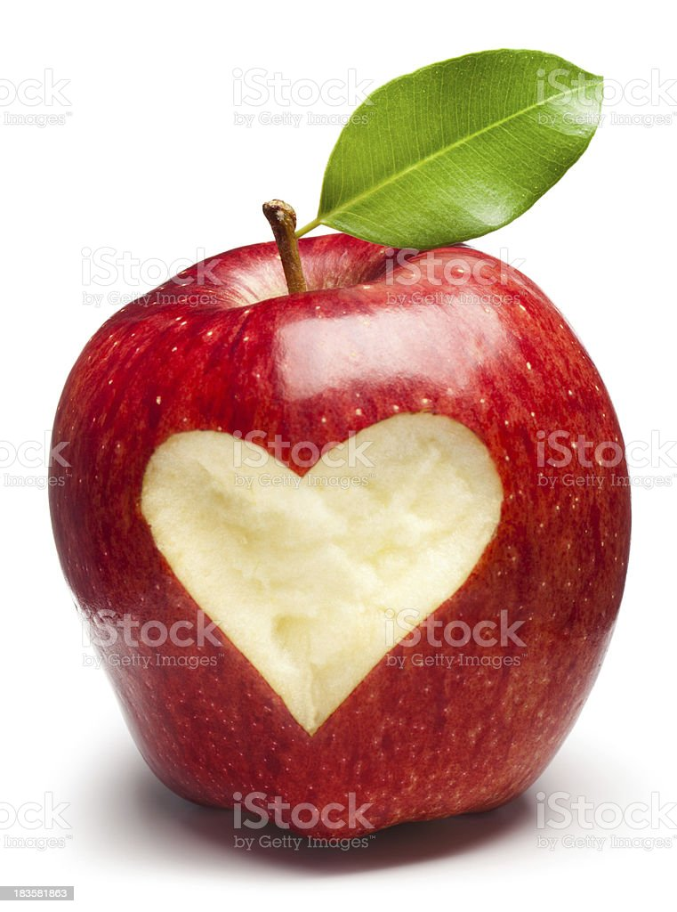 A red apple with a heart inside of it  stock photo