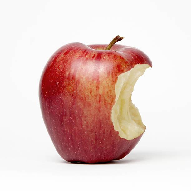 red apple with bite - 咬 個照片及圖片檔