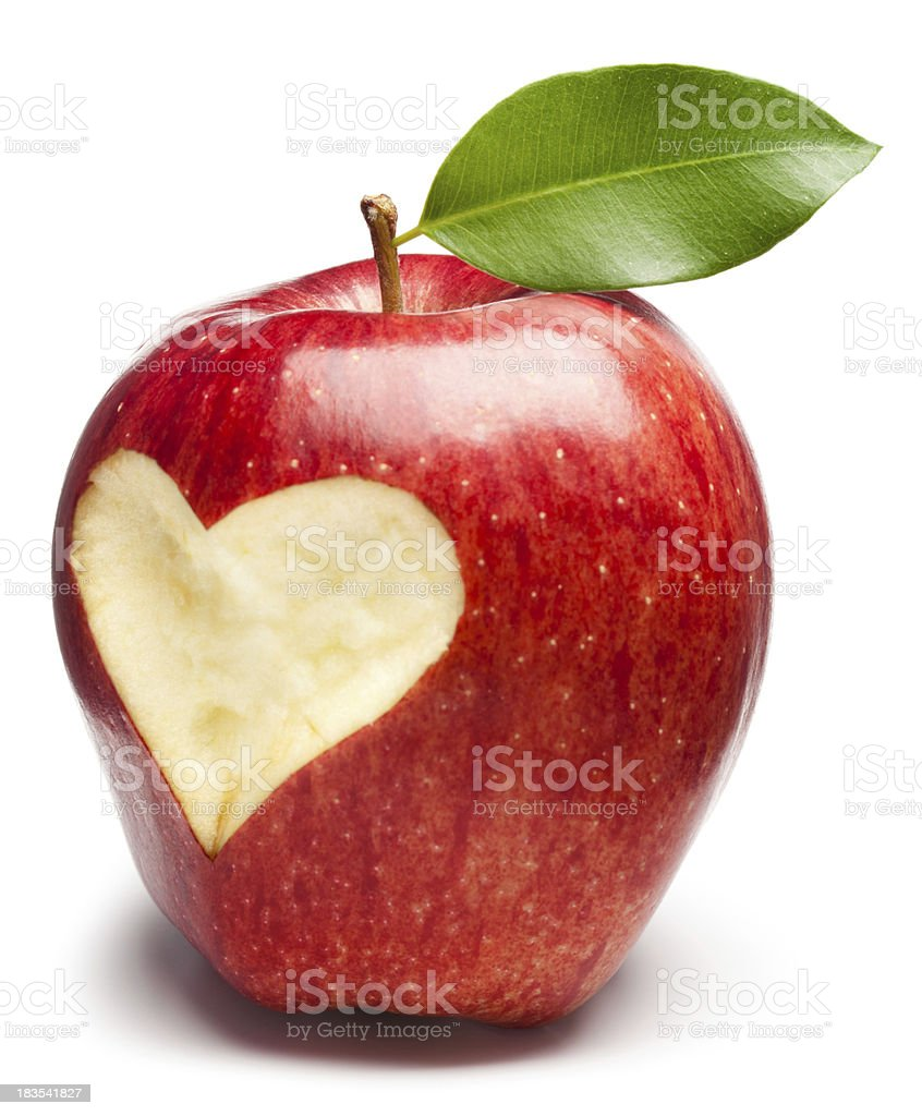Red Apple with heart royalty-free stock photo