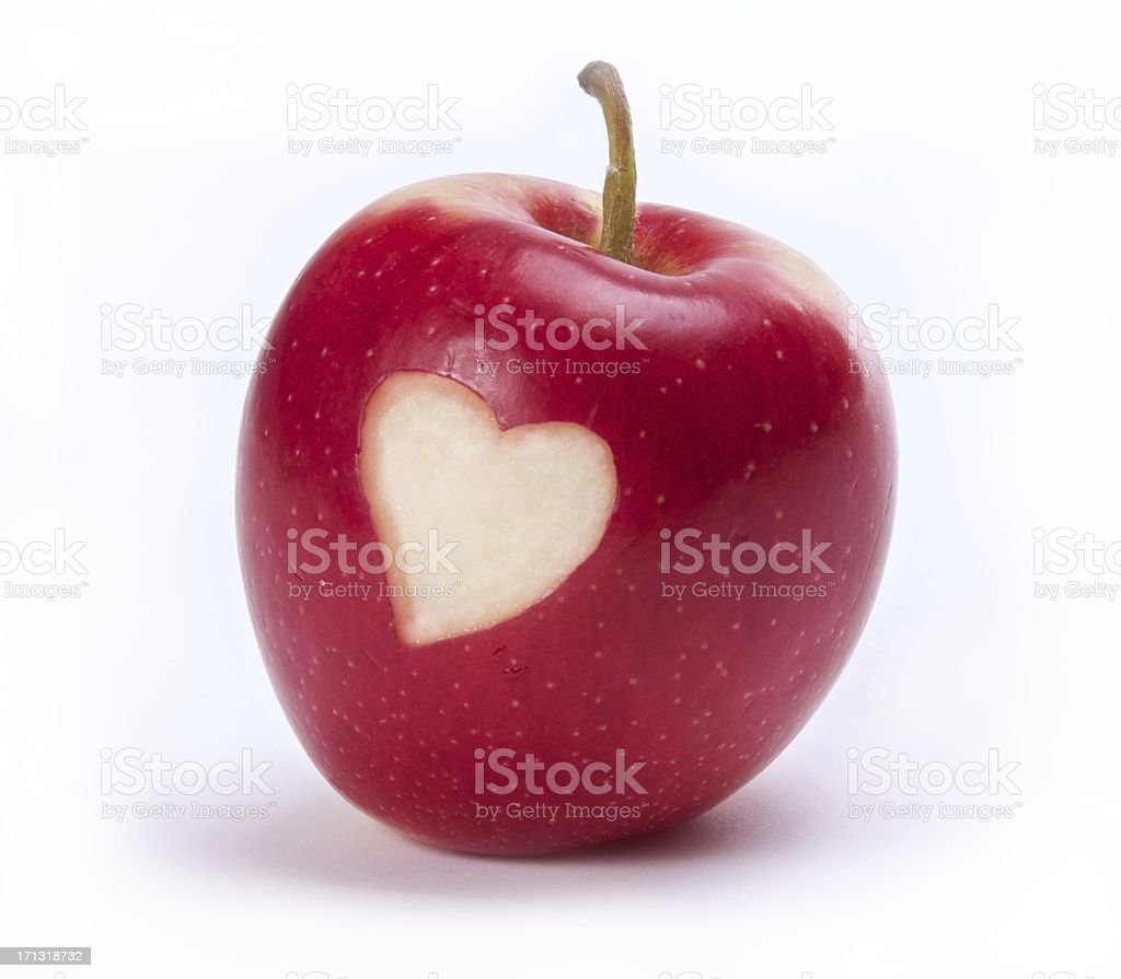 Red Apple with Heart Shape stock photo