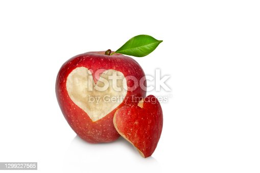 Red apple with heart symbol for Valentine's Day, isolated