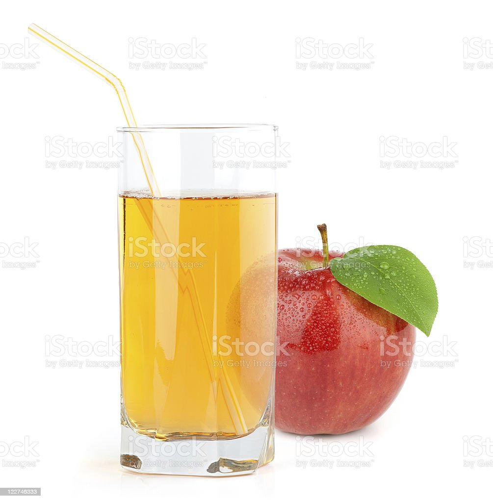 red apple with juice stock photo