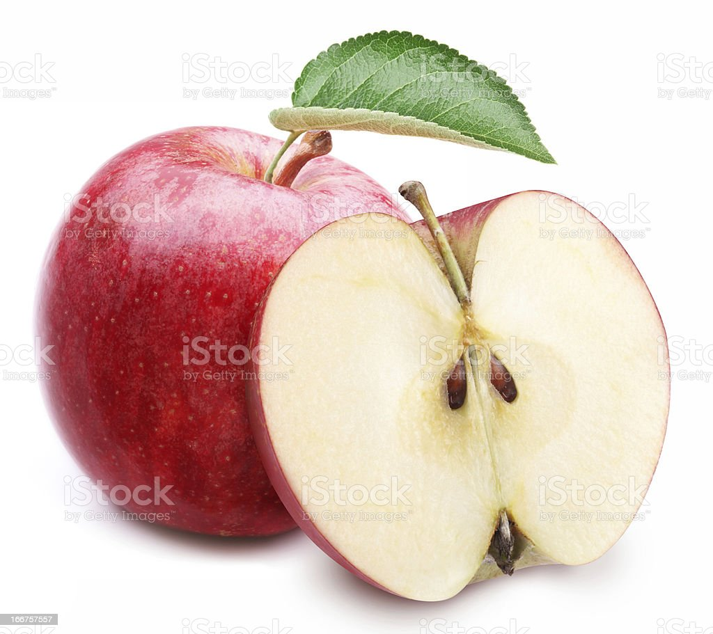 Red apple with leaf and slice. royalty-free stock photo