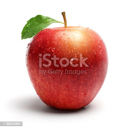 Red Apple with Leaf and Water Droplet on White Background.