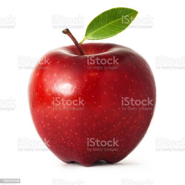 Red apple with leaf on white background.Apple portions: