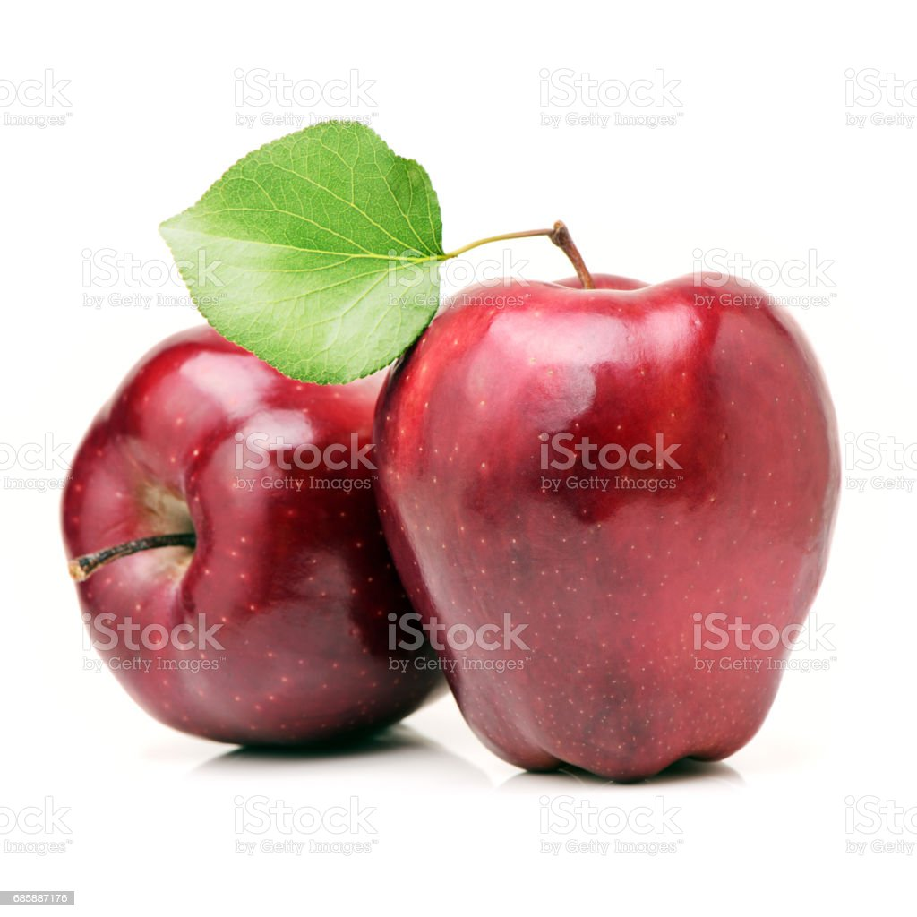 Red apple with leaf isolated on white background stock photo
