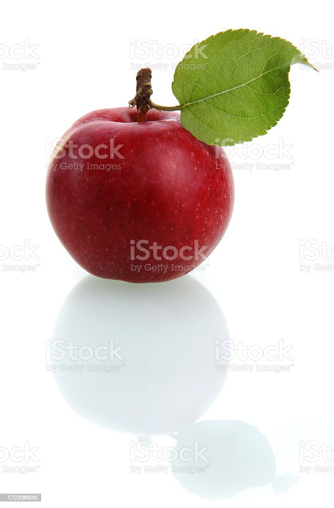 Red apple with leaf isolated on white royalty-free stock photo