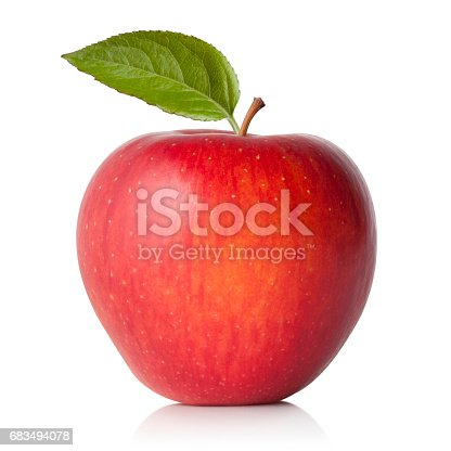 Red apple with leaf.