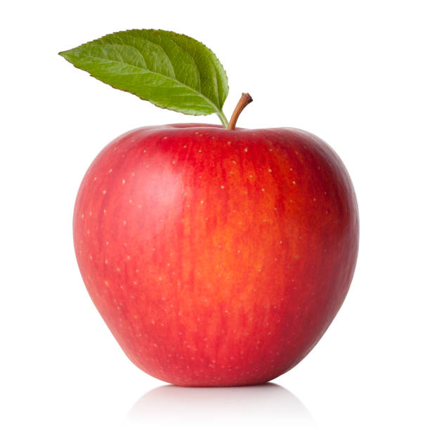 Red apple with leaf Red apple with leaf. red delicious apple stock pictures, royalty-free photos & images