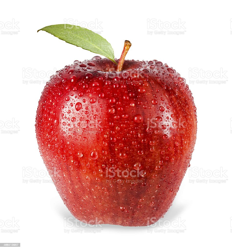 Red Apple with Water Droplet stock photo