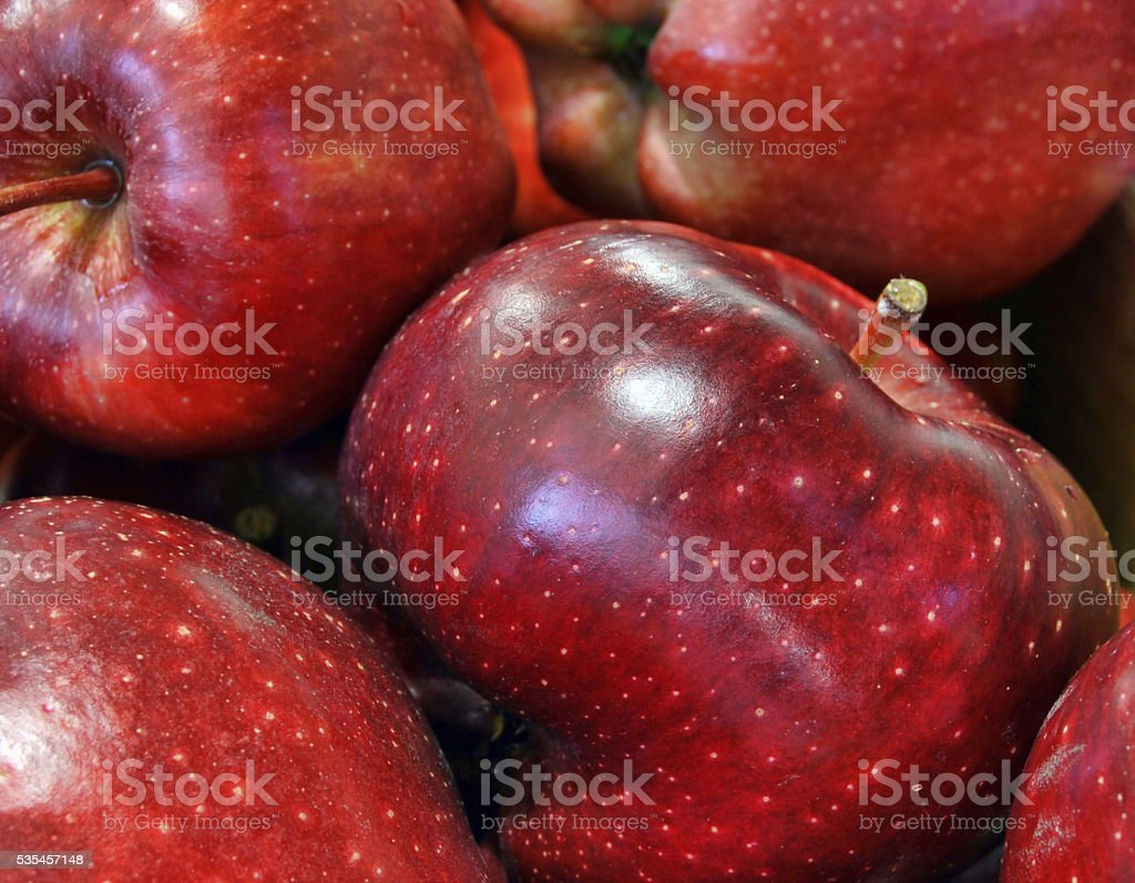 Red apples close up background stock photo