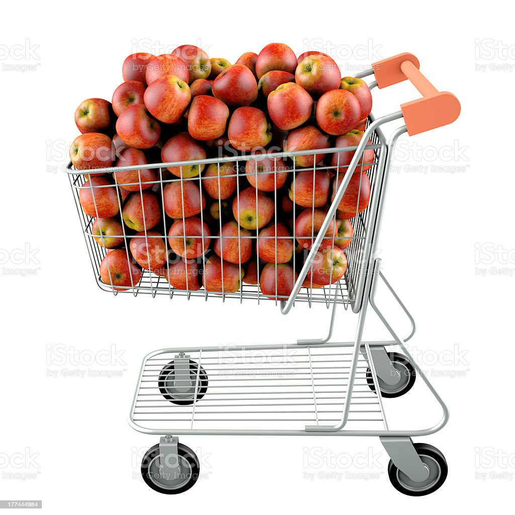 Red apples in a shopping cart stock photo