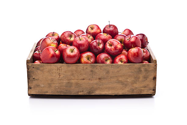rote äpfel in holz korb, isoliert auf weißem hintergrund - holzkiste stock-fotos und bilder