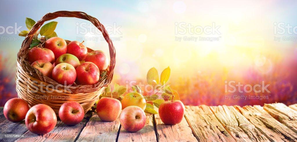 Pommes rouges dans le panier sur la Table en bois au coucher du soleil - Photo