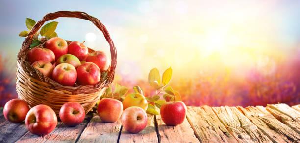rote äpfel im korb auf holztisch bei sonnenuntergang - obstgarten stock-fotos und bilder