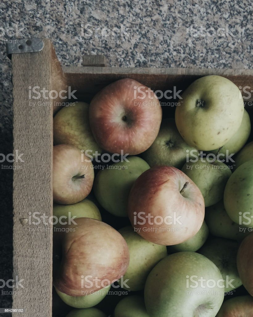 Red apples in wooden crate royalty-free stock photo