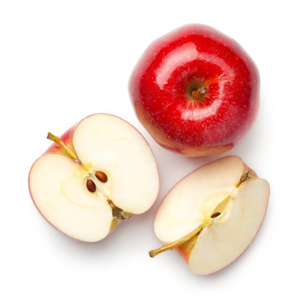 rode appels geïsoleerd op witte achtergrond - appel stockfoto's en -beelden