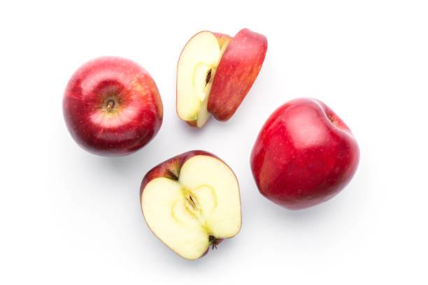 rote äpfel, isoliert auf weiss in der draufsicht - 25 cent stück stock-fotos und bilder