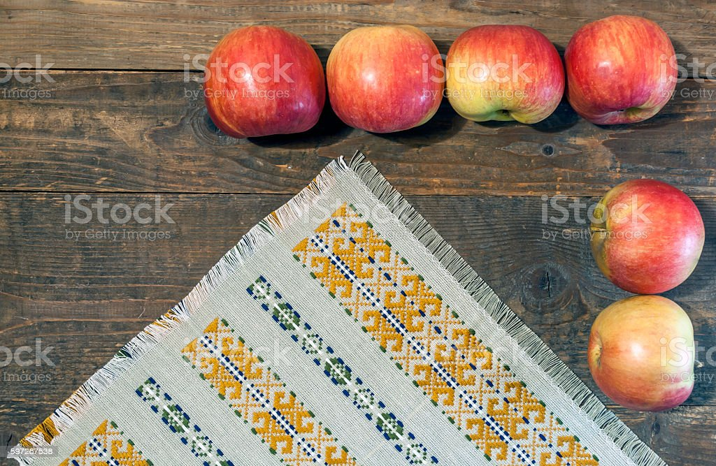 Red apples on wooden background royalty-free stock photo