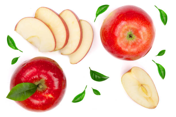red apples with slices and leaves isolated on white background top view. Set or collection. Flat lay pattern stock photo