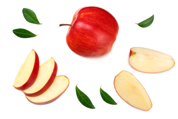 red apples with slices isolated on white background. top view - fetta foto e immagini stock