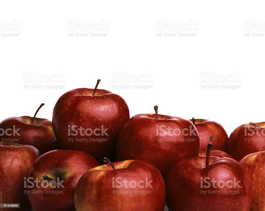 Red apples with white background. royalty-free stock photo