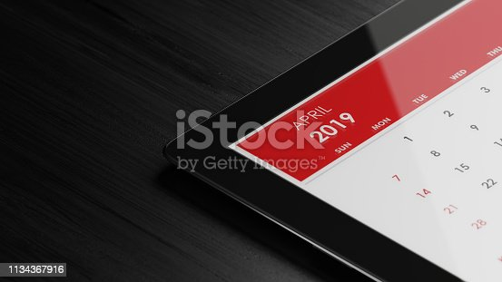 1124594277istockphoto Red April 2019 Calendar On Black Wood Surface 1134367916