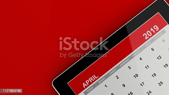 1124594277 istock photo Red April 2019 Calendar On Red Background 1127803760