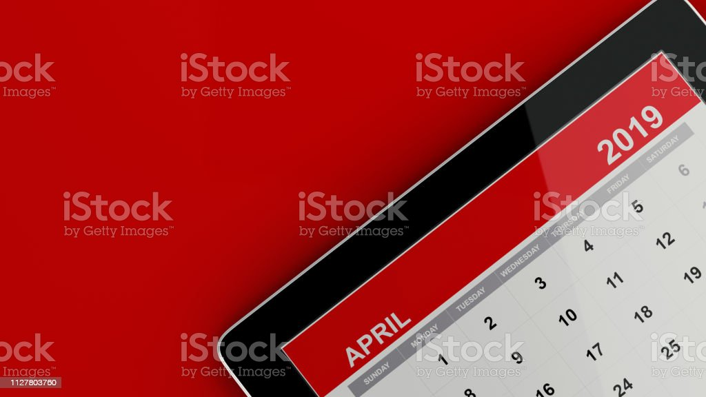 Red April 2019 Calendar On Red Background stock photo