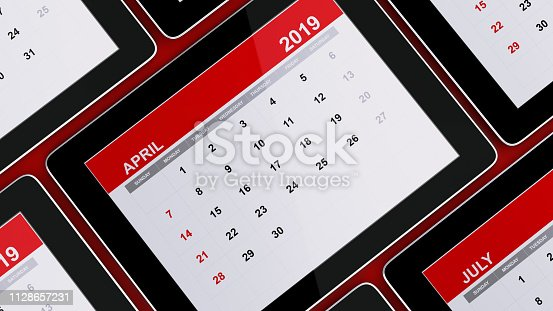 1124594277 istock photo Red April 2019 Calendar On Red Background 1128657231