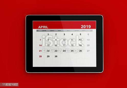1124594277 istock photo Red April 2019 Calendar On Red Background 1132321022