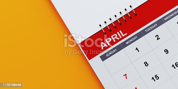 1124594277 istock photo Red  April 2019 Calendar On Yellow Background 1125796446