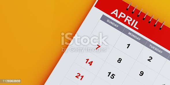 1124594277 istock photo Red April 2019 Calendar On Yellow Background 1126963859