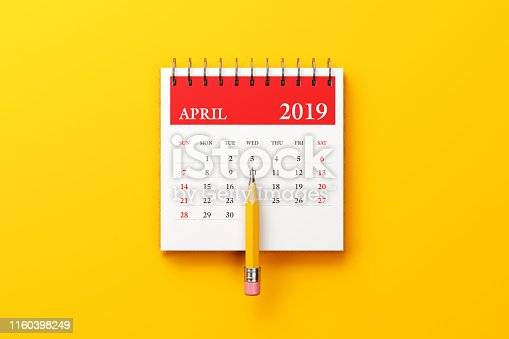 1124594277 istock photo Red April 2019 Calendar On Yellow Background 1160398249