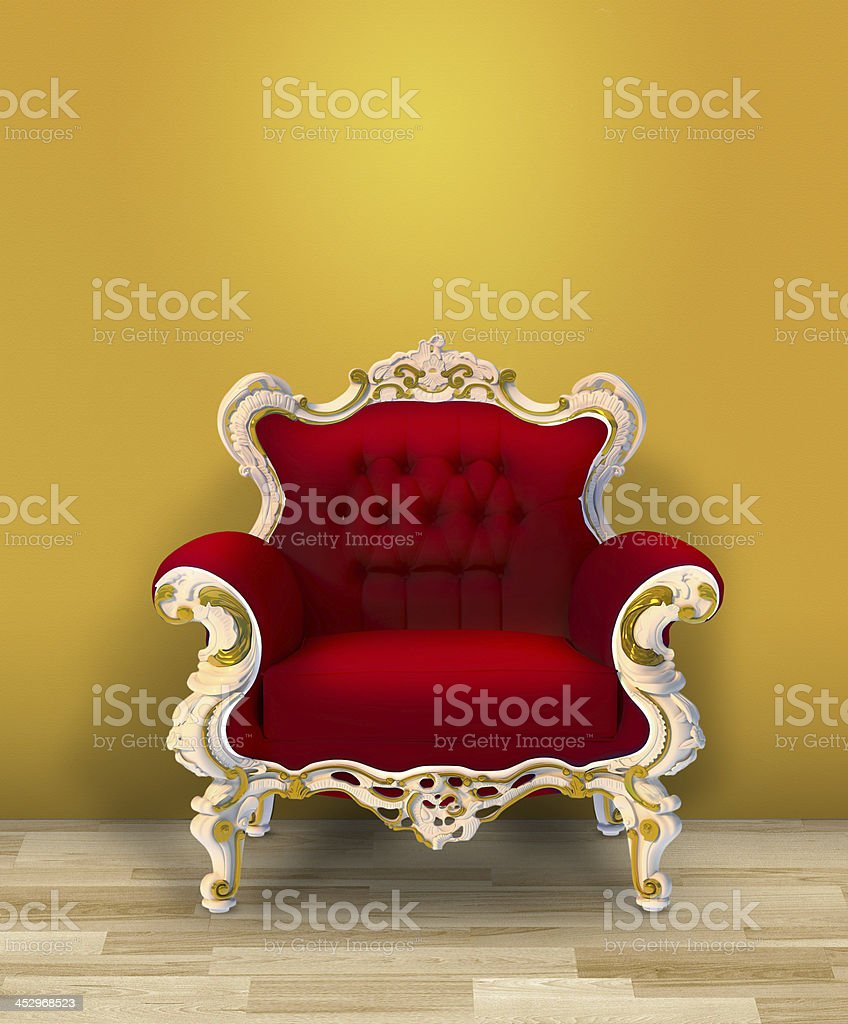 Red arbchair and yellow wall stock photo & Royalty Free Royal Chair Background Pictures Images and Stock ...