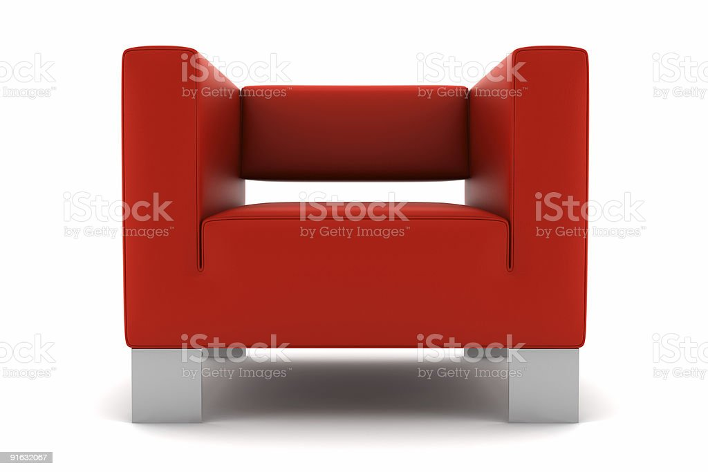 red armchair isolated on white background royalty-free stock photo