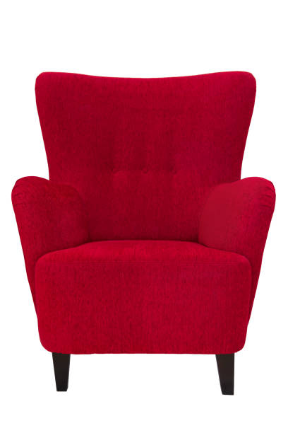 Red armchair stock photo