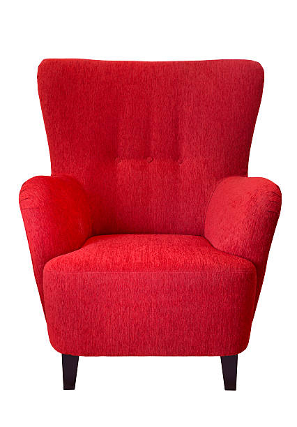 Red armchair Isolated red armchair. armchair stock pictures, royalty-free photos & images