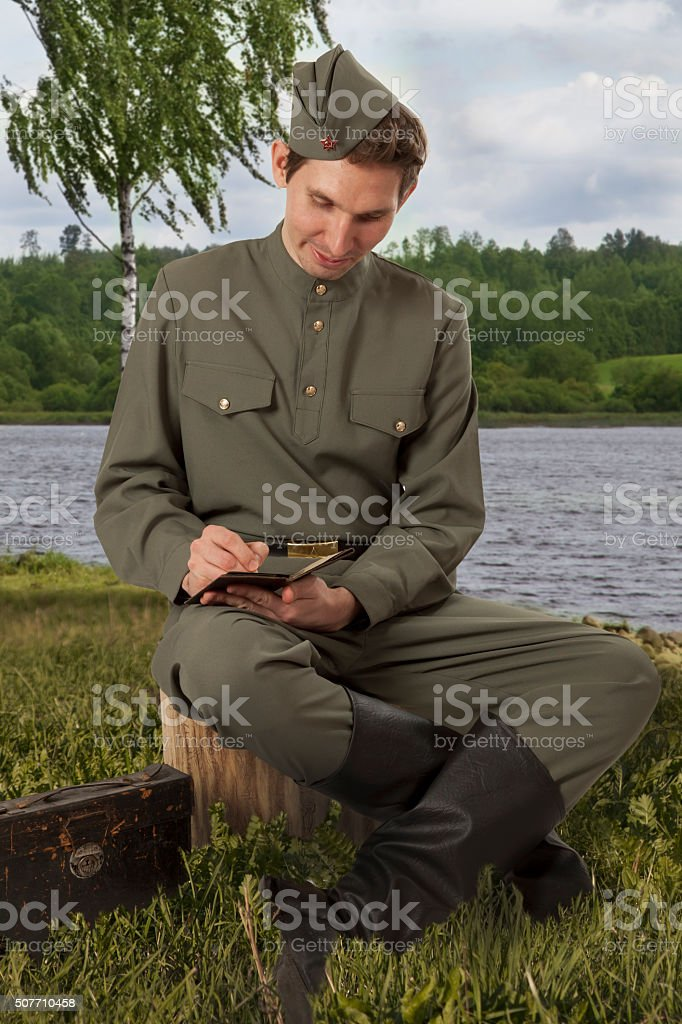 red army soldier writing a letter stock photo 507710458 istock