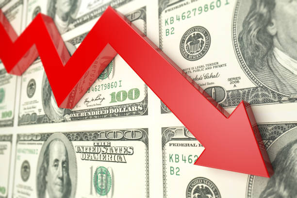 Red arrow And dollar finance decline graph- Stock image Red arrow And dollar finance decline graph. (Red arrow shows dollar's decline index ) Finance chart, dollar, and red arrow concept. recession stock pictures, royalty-free photos & images