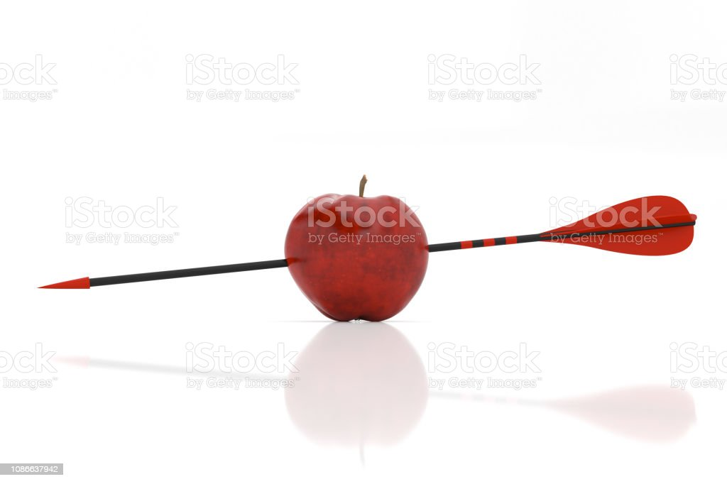 red arrow and red apple stock photo