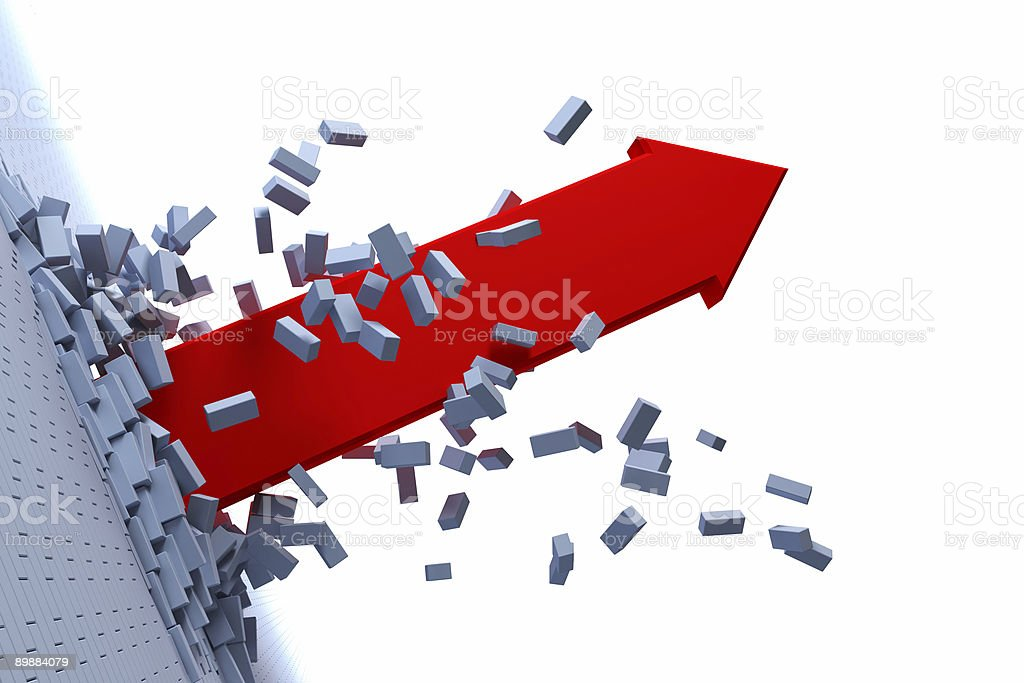 Red arrow bursting through gray bricks on white background  stock photo